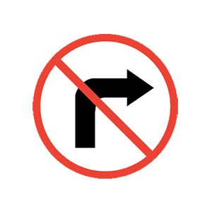 Idaho no right turn road sign