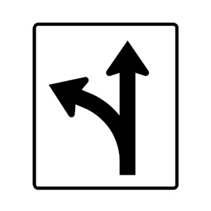 arizona go straight or turn left road sign