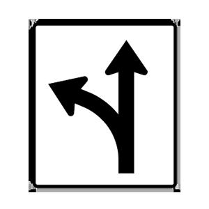 arizona go straight or turn left road sign