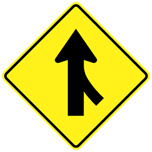 arkansas merging traffic road sign