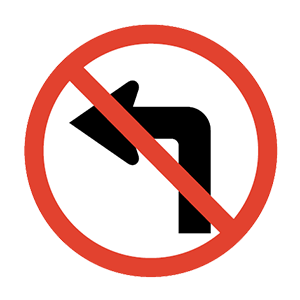arkansas no left turn road sign