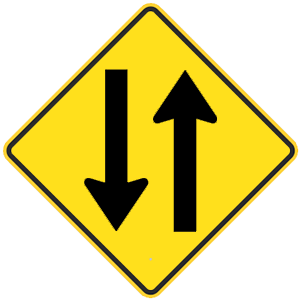 california two way traffic road sign