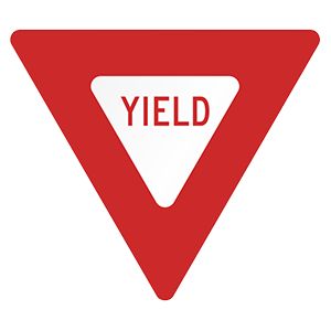 california yield road sign