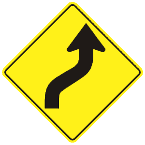 connecticut road curves to right and left road sign