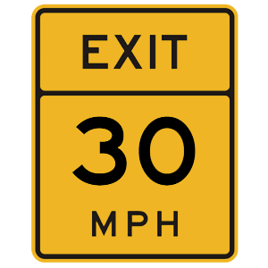 florida exit speed road sign