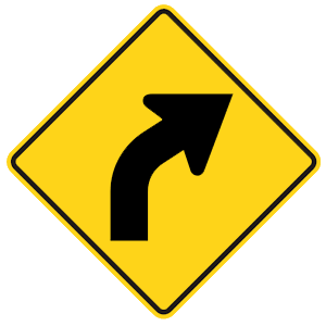 georgia curve right road sign