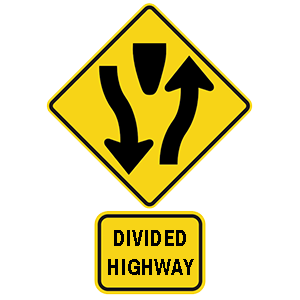 georgia divided highway road sign