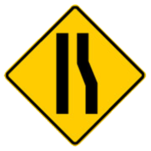 georgia reduction of lanes road sign