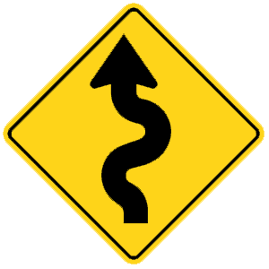 georgia winding road road sign