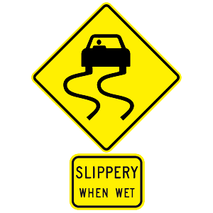 hawaii slippery when wet road sign