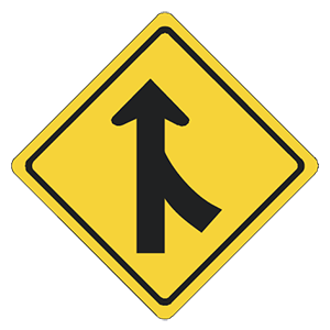 illinois merging lanes road sign