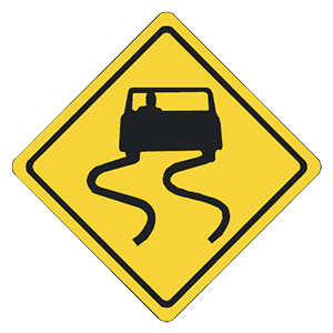 illinois slippery pavement road sign