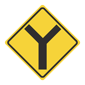illinois y intersection road sign