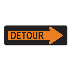 indiana detour road sign