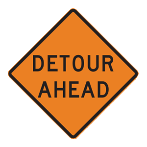 indiana detour ahead road sign