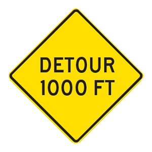 indiana detour in 100 feet
