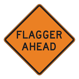 indiana flagger ahead(2) road sign