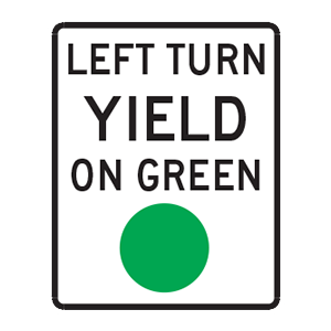 indiana left turn yield on green road sign