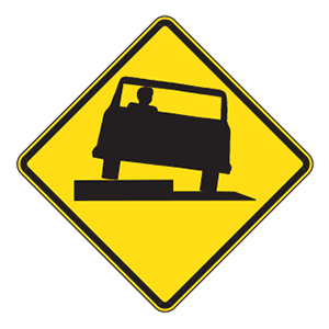 indiana low shoulder road sign