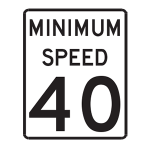 indiana minimum speed road sign