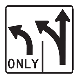 indiana multiple turns road sign