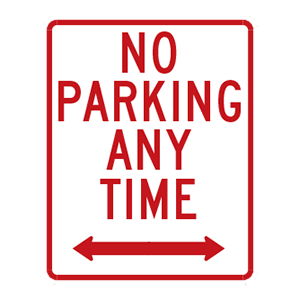 indiana no parking any time road sign