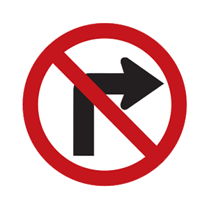 indiana no right turn road sign