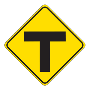 indiana t intersection road sign