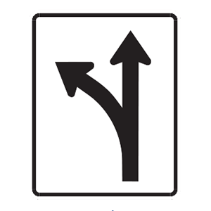 indiana turn left or go through road sign
