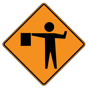maryland flagger ahead road sign
