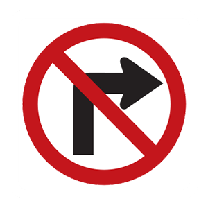 maryland no right turn road sign