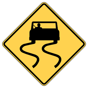 maryland slippery when wet road sign