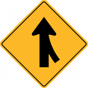 new york merging traffic entering from right road sign