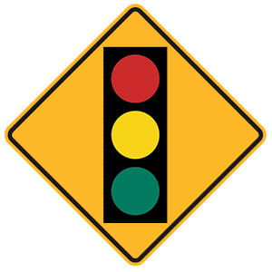new york traffic signal ahead road sign