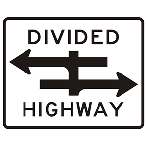 pennsylvania divided highway road sign