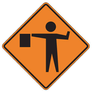 pennsylvania flagger ahead road sign