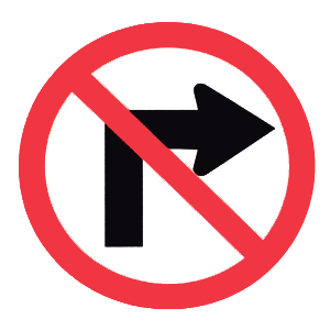 pennsylvania no right turn road sign