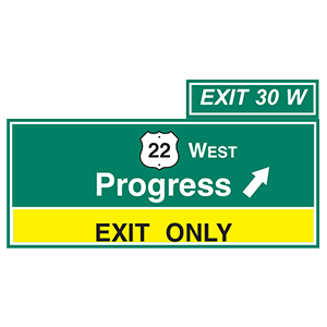 pennsylvania progress exit only road sign