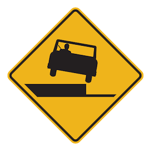pennsylvania shoulder drop off road sign