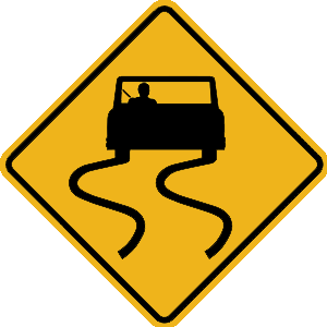pennsylvania slippery when wet road sign