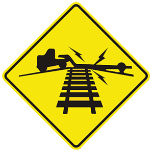 virginia low ground railroad crossing road sign