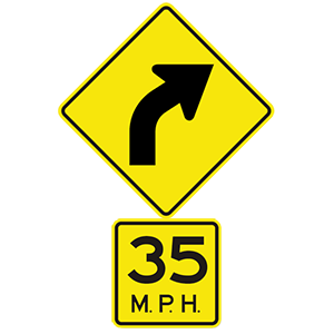 virginia right curve 35 mph road sign