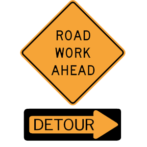 virginia road work ahead detour road sign