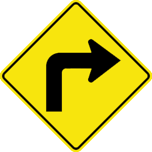 virginia sharp right turn road sign