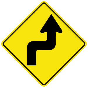 virginia sharp turn right road sign