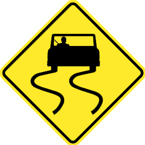 virginia slippery when wet road sign